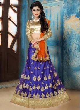 Fashionable Booti Work Net Navy Blue and Orange Trendy Lehenga Choli