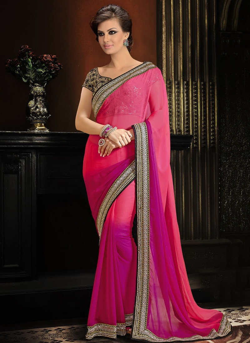 Fashionable Chiffon Satin Lace Work Party Wear Saree