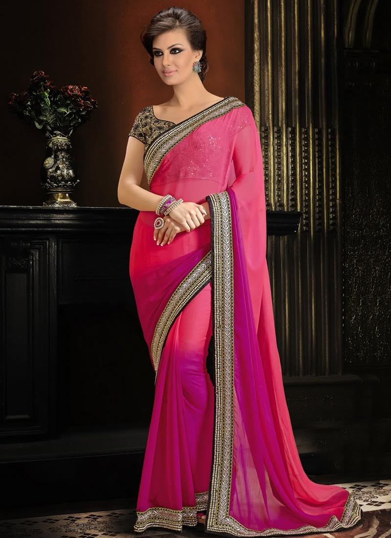 Fashionable Chiffon Satin Lace Work Party Wear Saree