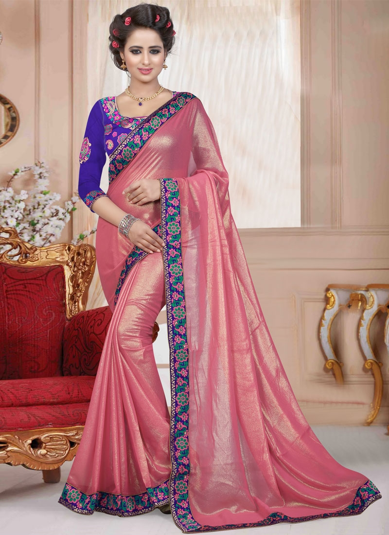 Fashionable Faux Georgette Salmon Color Casual Saree