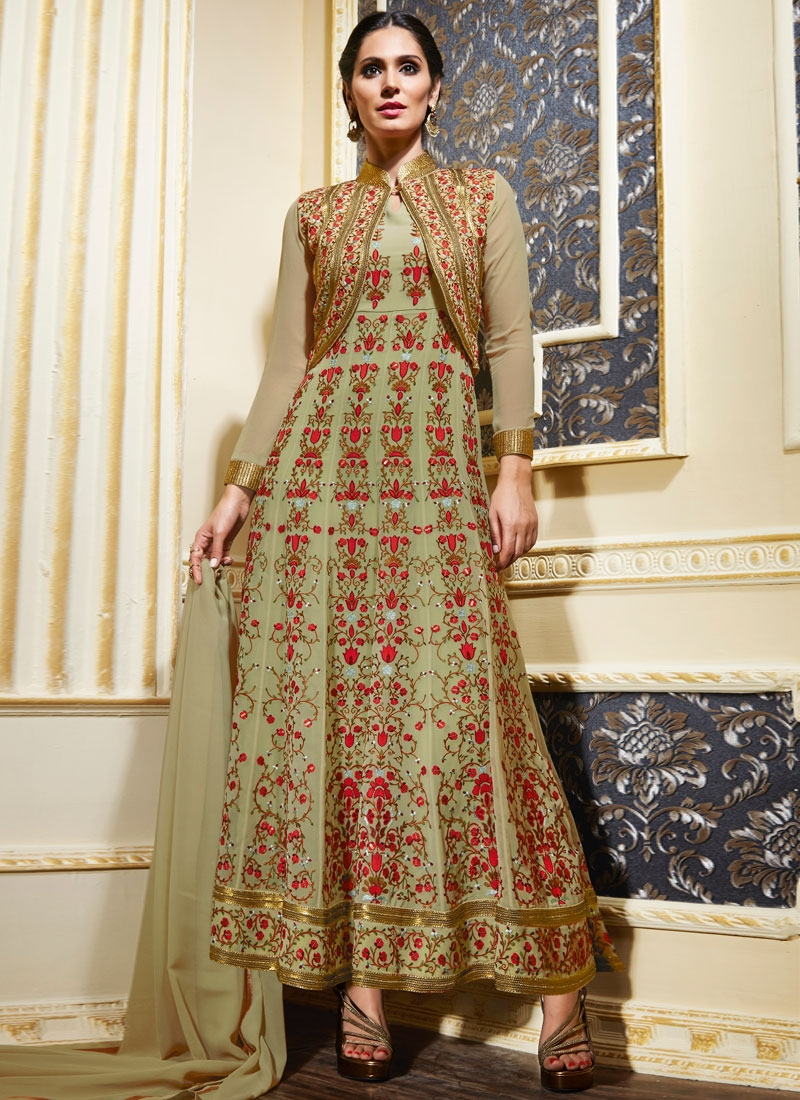 Fashionable Floral Work Jacket Style Wedding Salwar Kameez