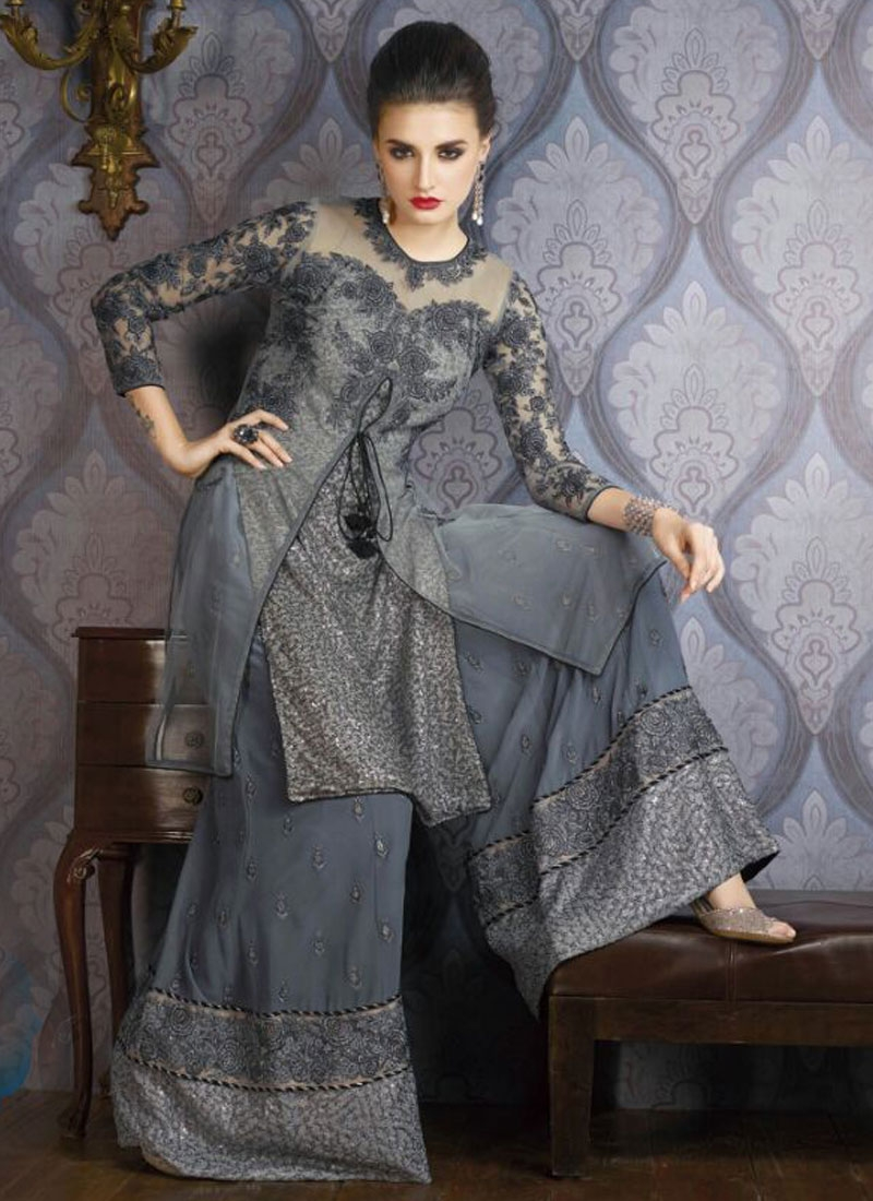Fashionable Grey Color Palazzo Style Party Wear Suit
