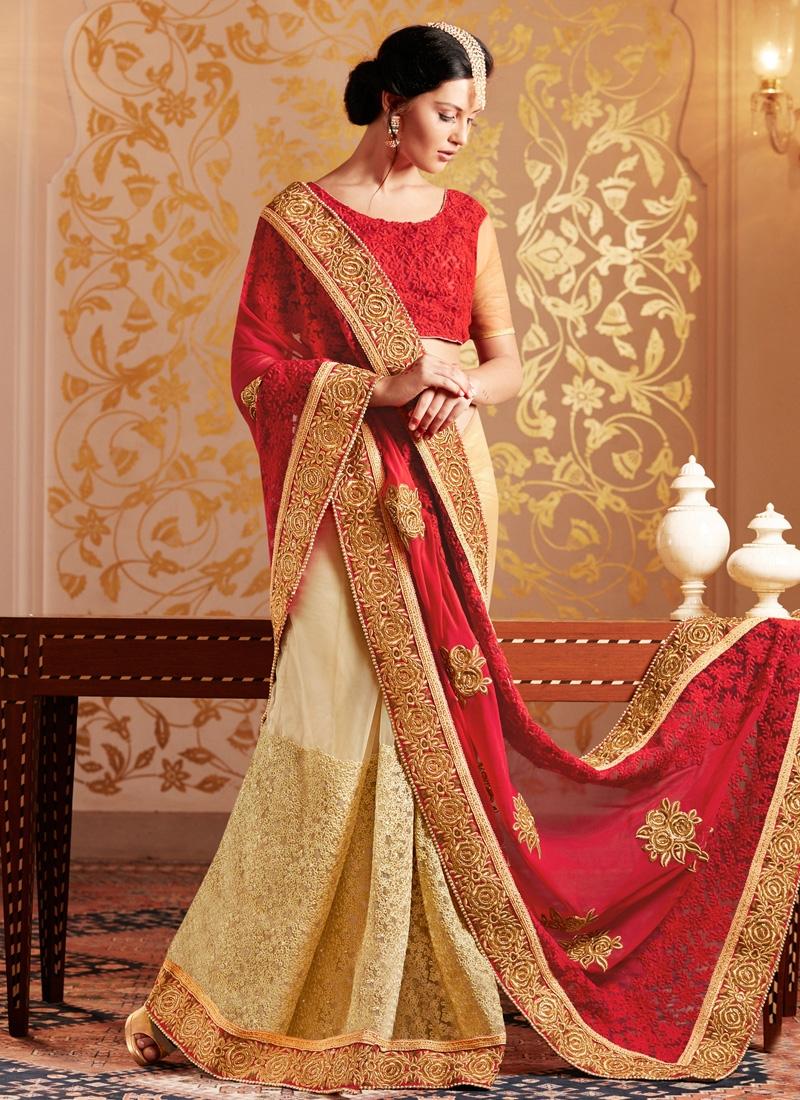 Fashionable Jaal And Resham Work Half N Half Wedding Saree