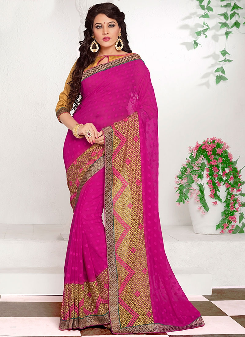 Fashionable Jacquard Lace Work Party Wear Saree