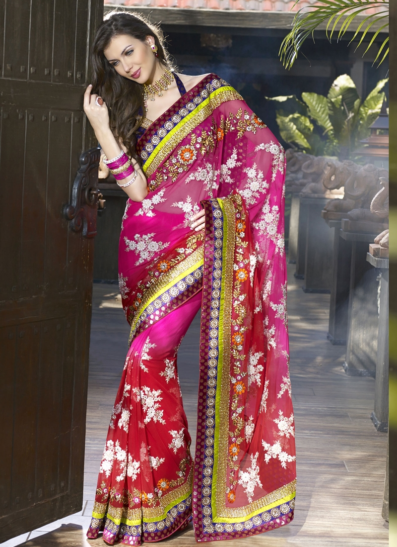 Fashionable Kasab Enhanced Bridal Saree