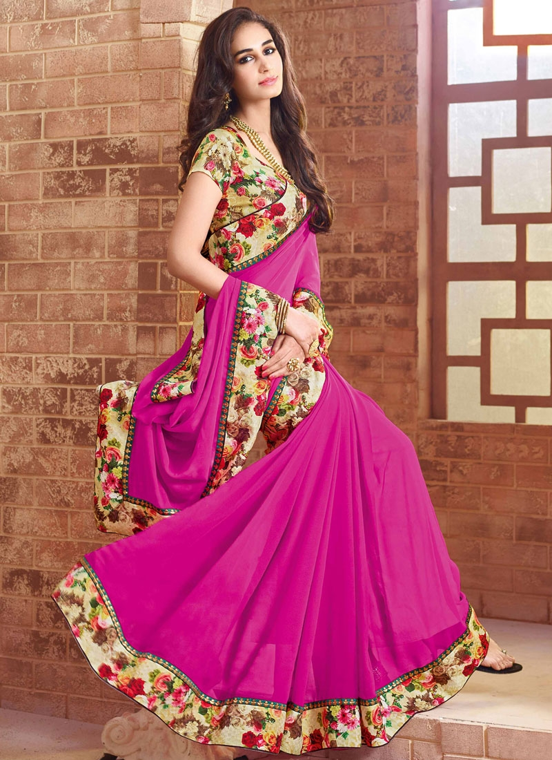 Fashionable Lace Work Magenta Color Party Wear Saree