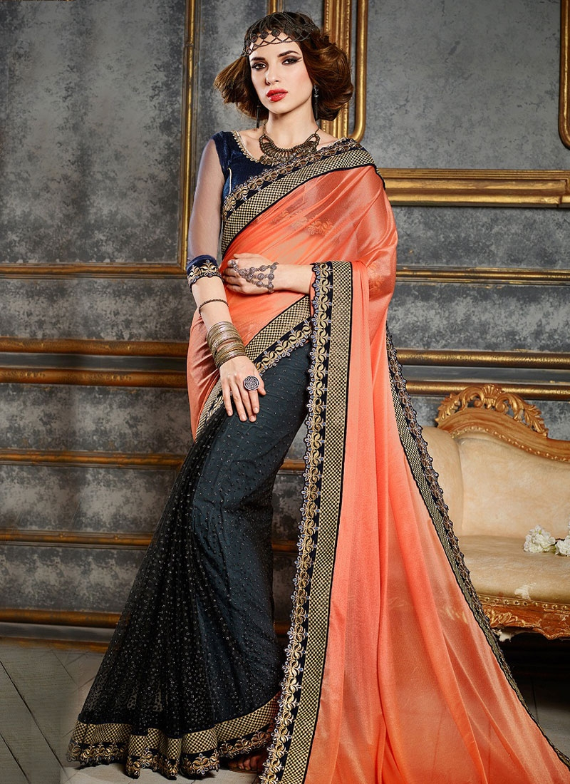 Fashionable Lycra And Net Half N Half Party Wear Saree