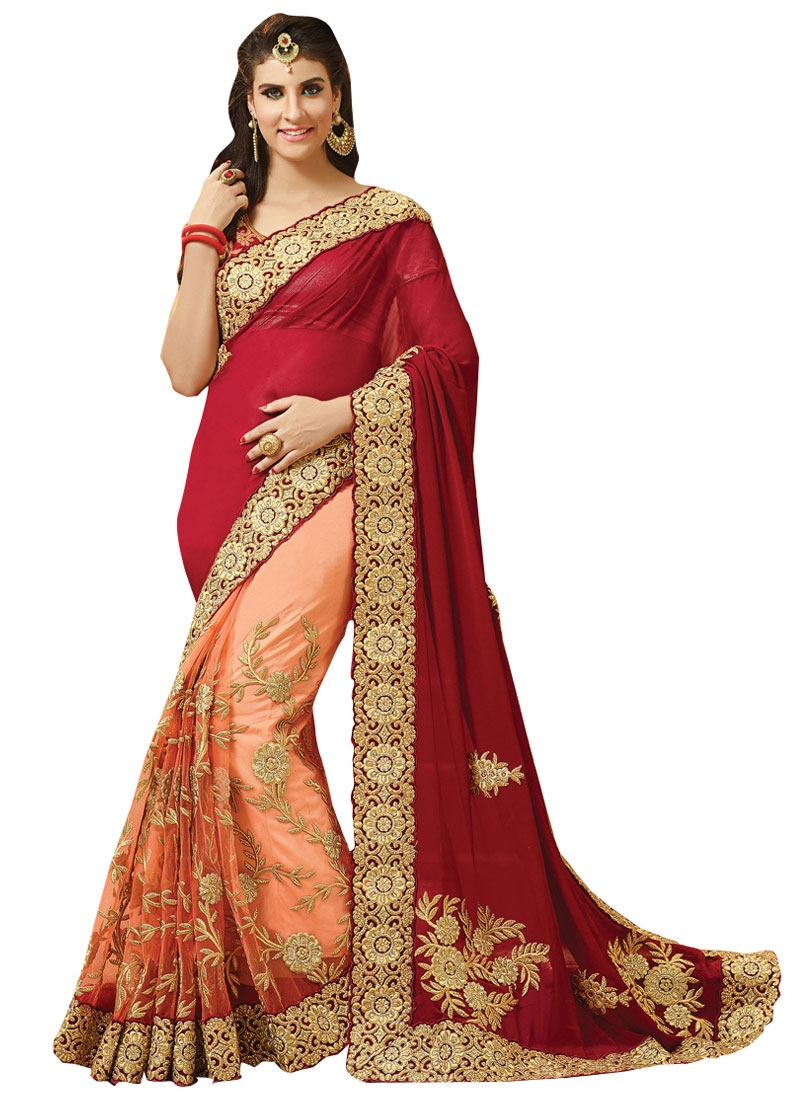 Fashionable Net Embroidery Work Half N Half Bridal Saree