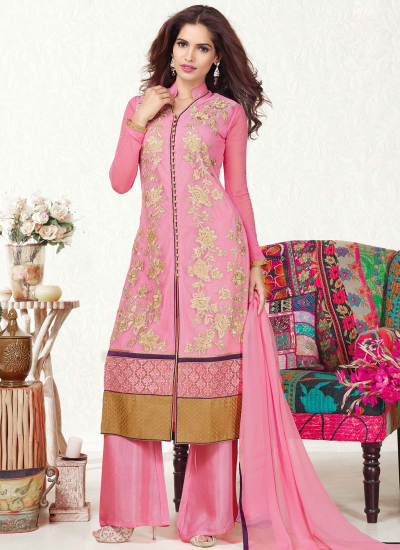 Fashionable Patch Border Work Palazzo Style Party Wear Salwar Suit