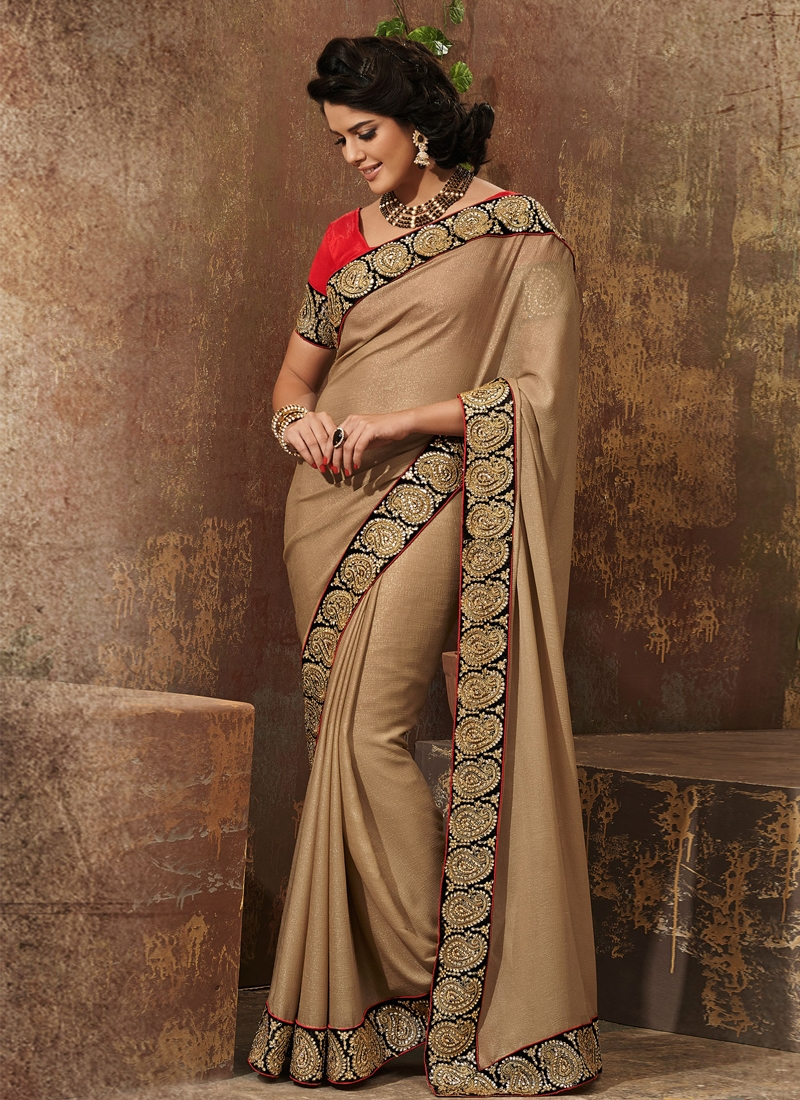 Fashionable Patch Enhanced Party Wear Saree