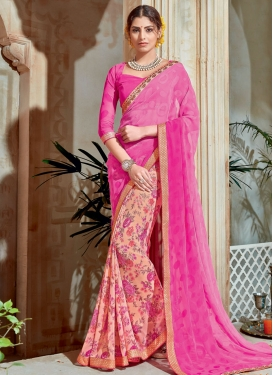 Fashionable Peach and Rose Pink Half N Half Trendy Saree