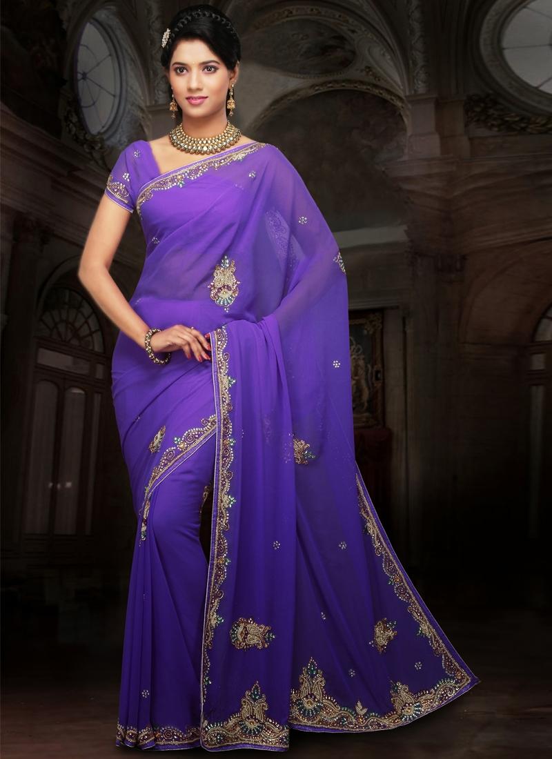 Fashionable Purple Color Party Wear Saree