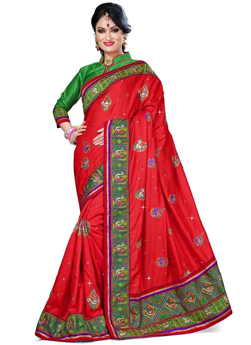 Fashionable Red Color Resham And Stone Work Designer Saree