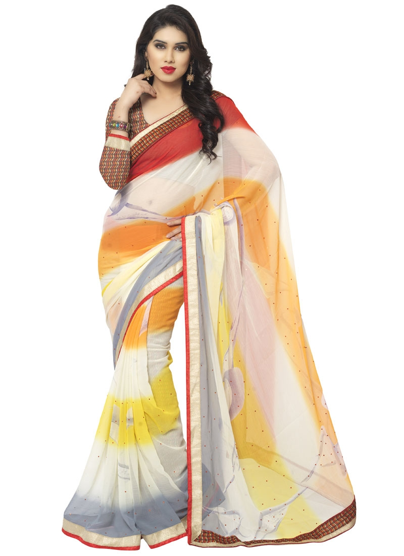 Fashionable Resham Work Faux Chiffon Casual Saree