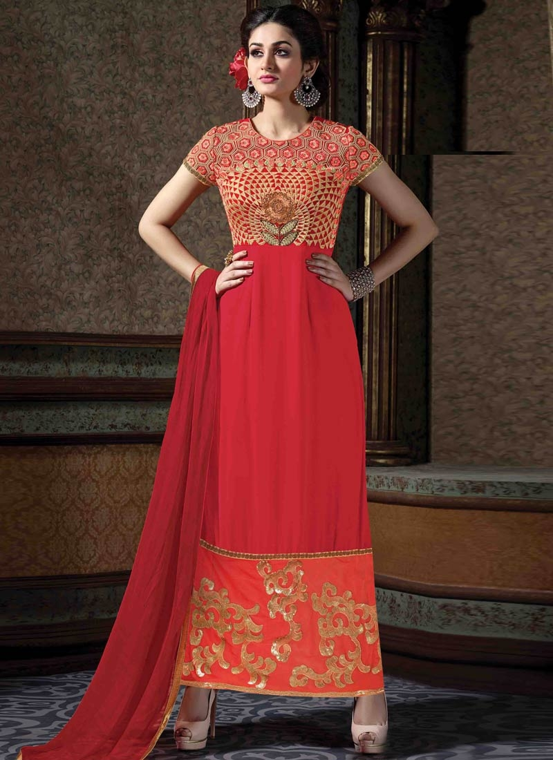 Fashionable Sequins Work Red Color Designer Suit