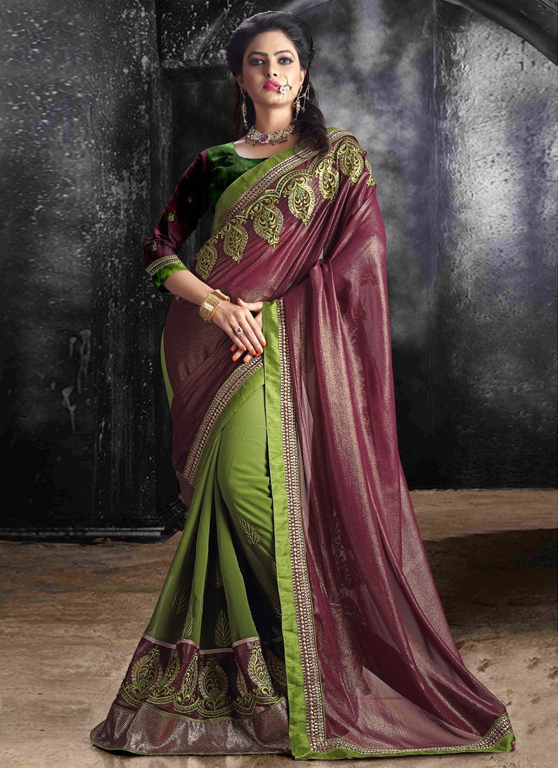 Fashionable Shimmer Georgette Half N Half Party Wear Saree