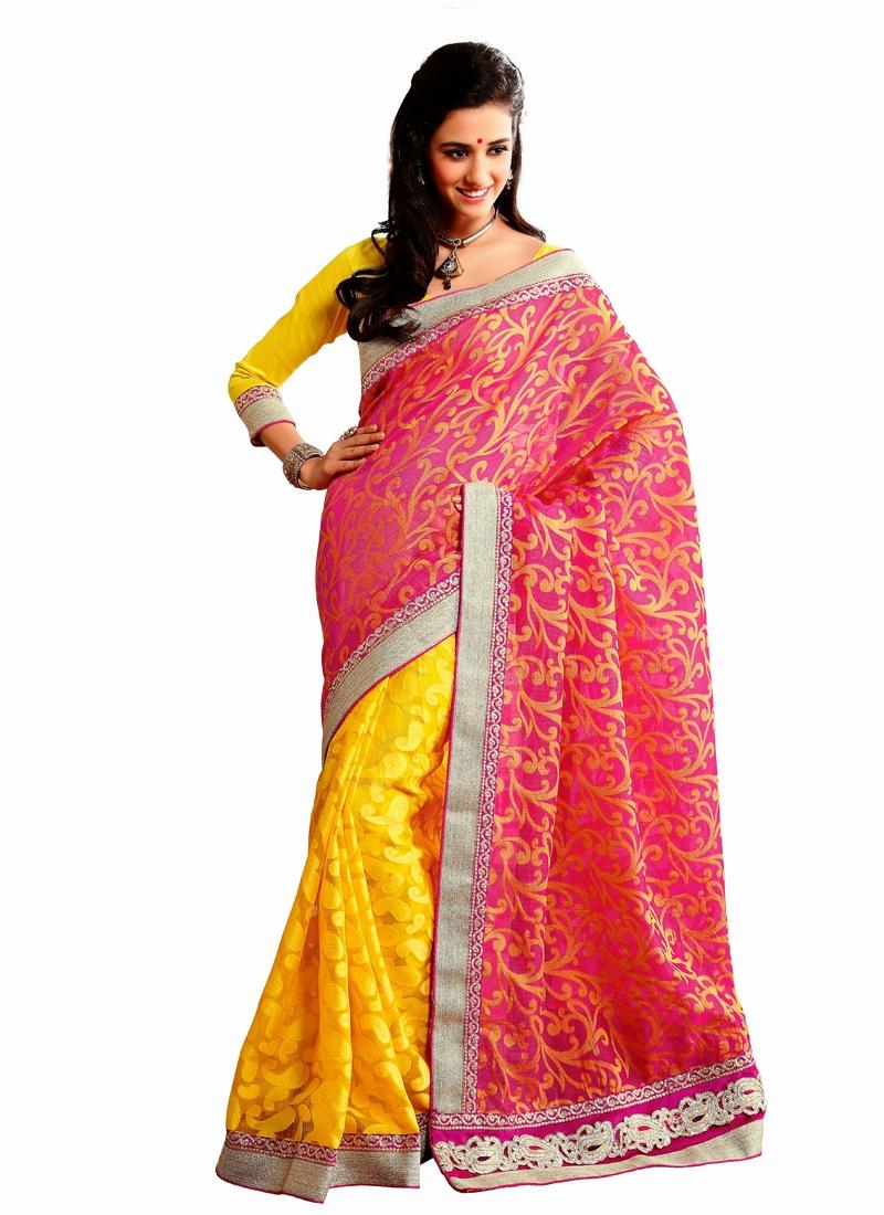 Fashionable Silk And Jacquard Half N Half Saree