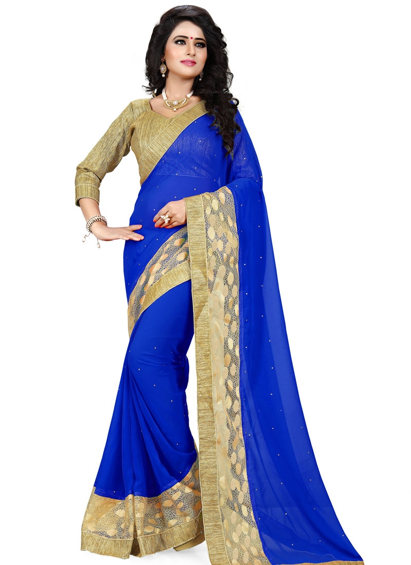 Fashionable Stone And Resham Work Party Wear Saree