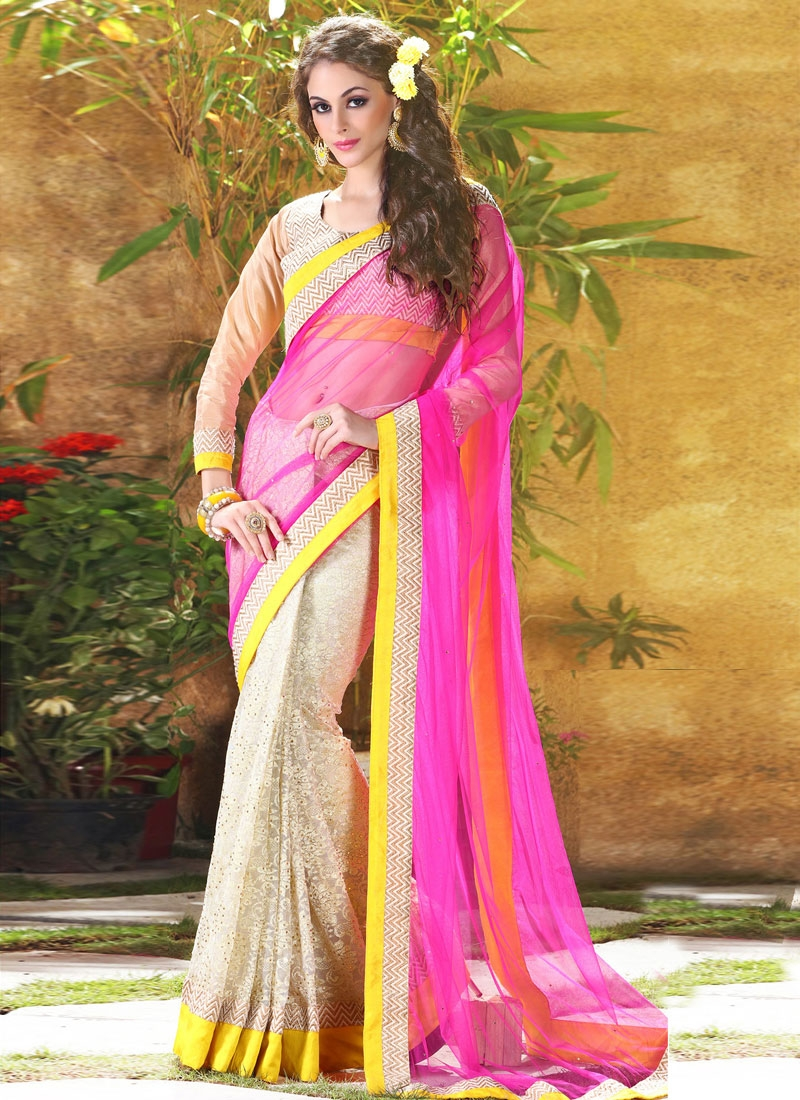 Fashionable Stone Work Half N Half Designer Saree