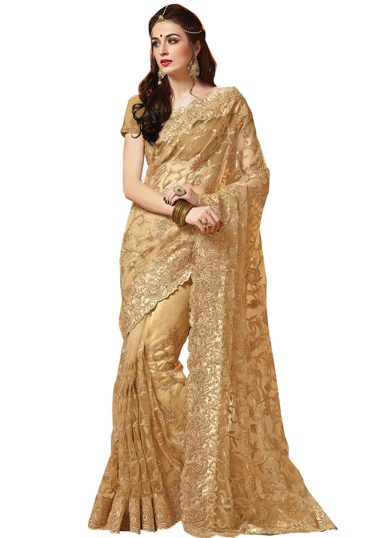 Fashionable Stone Work Net Bridal Saree