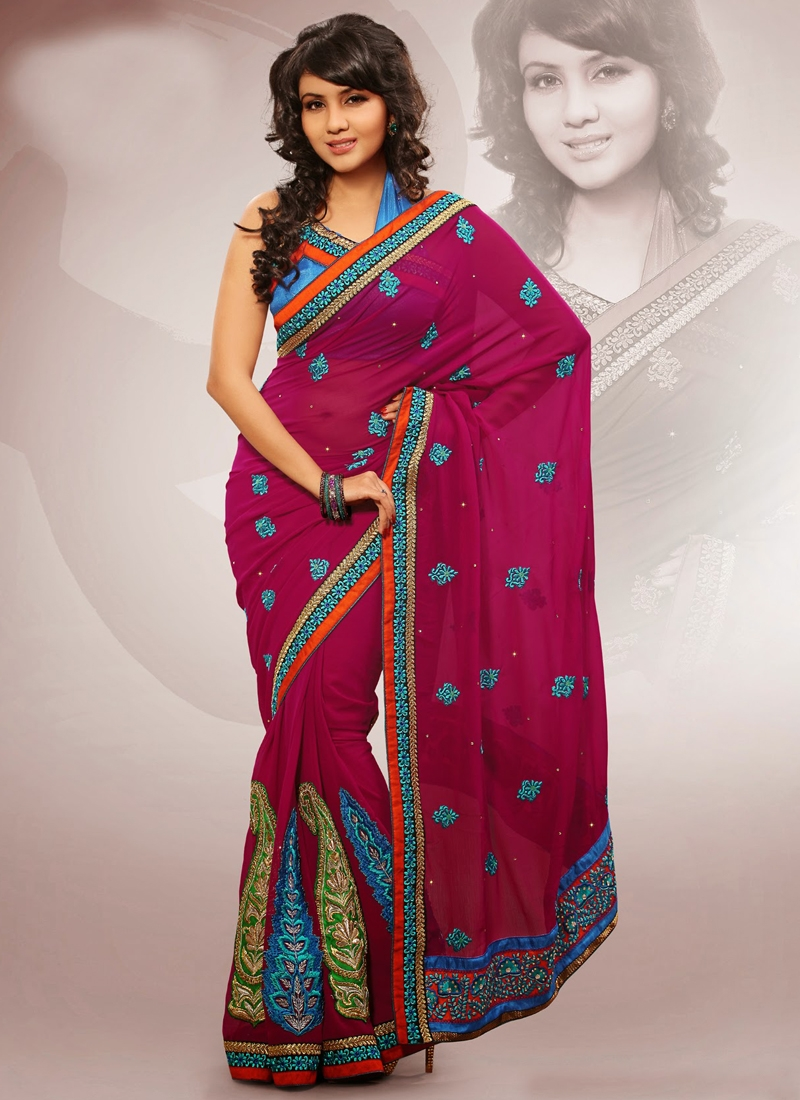 Fashionable Wine Color Party Wear Saree