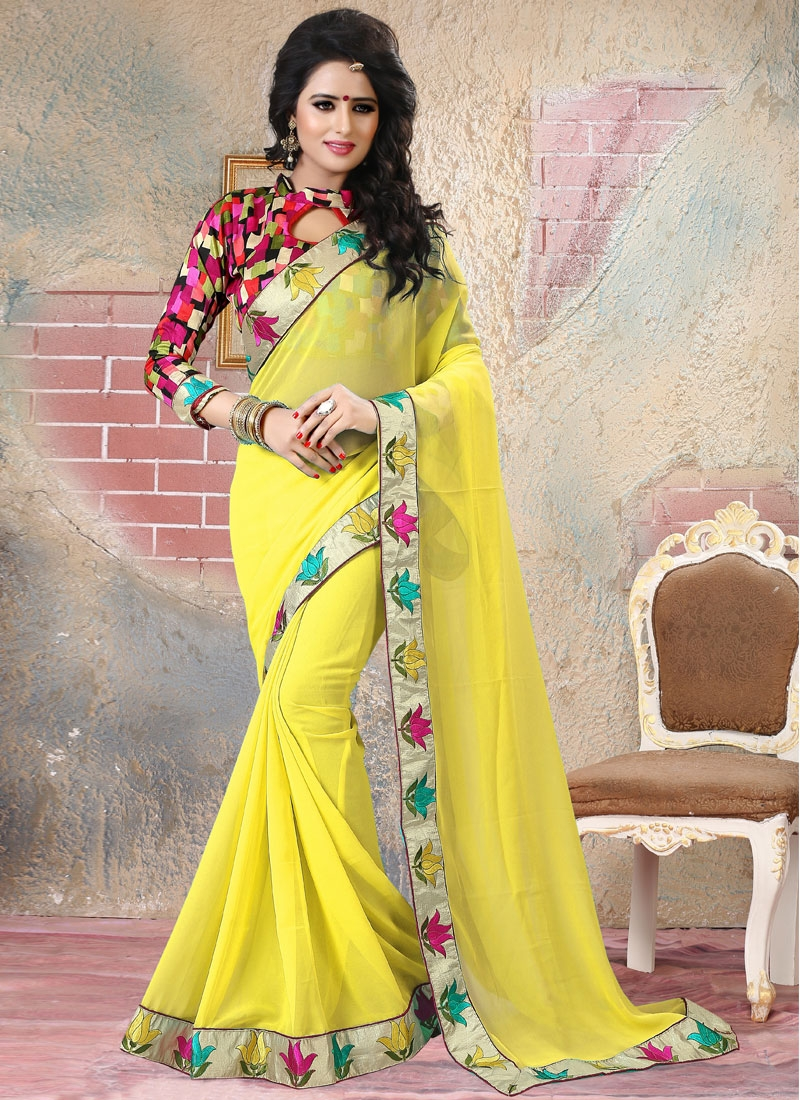 Fashionable Yellow Color Lace Work Party Wear Saree