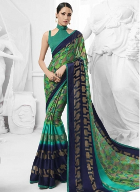 Faux Chiffon Aqua Blue and Mint Green Contemporary Style Saree