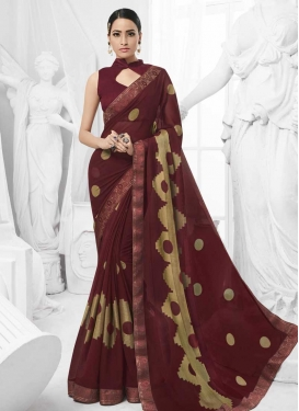 Faux Chiffon Beige and Maroon Designer Contemporary Saree