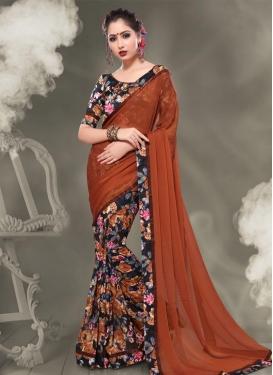 Faux Chiffon Black and Orange Half N Half Designer Saree