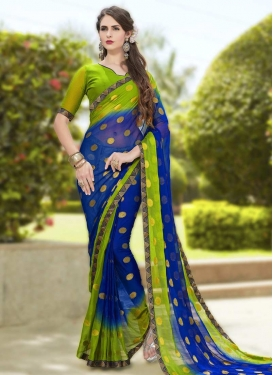 Faux Chiffon Blue and Mint Green Lace Work Traditional Saree