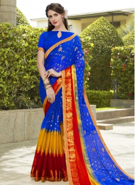 Faux Chiffon Blue and Mustard Thread Work Trendy Saree