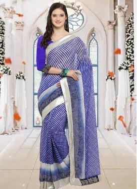 Faux Chiffon Blue and Off White Trendy Classic Saree For Casual
