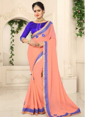 Faux Chiffon Blue and Peach Lace Work Contemporary Style Saree