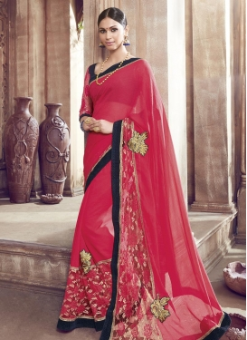 Faux Chiffon Booti Work Contemporary Style Saree