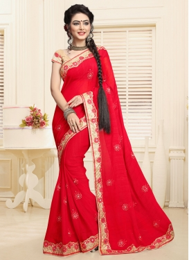 Faux Chiffon Classic Saree For Festival