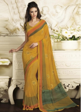 Faux Chiffon Contemporary Style Saree For Ceremonial