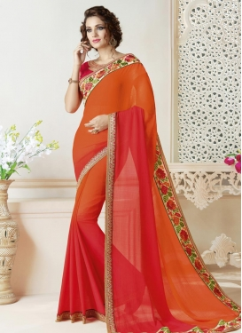 Faux Chiffon Contemporary Style Saree For Festival