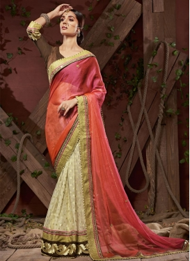 Faux Chiffon Cream and Salmon Beads Work Half N Half Saree