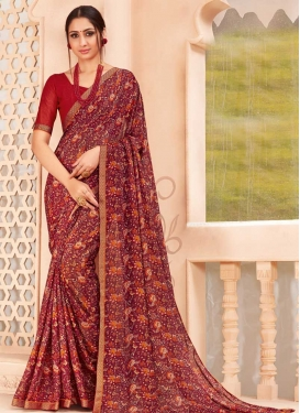 Faux Chiffon Designer Contemporary Style Saree For Ceremonial