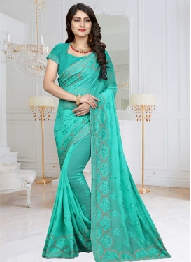 Faux Chiffon Embroidered Work Traditional Saree