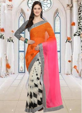 Faux Chiffon Half N Half Saree For Casual