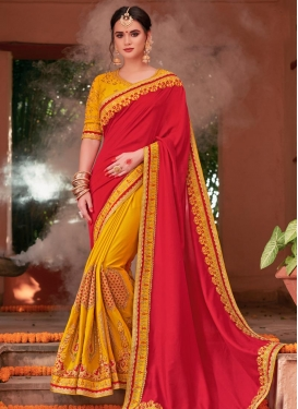 Faux Chiffon Half N Half Saree For Festival