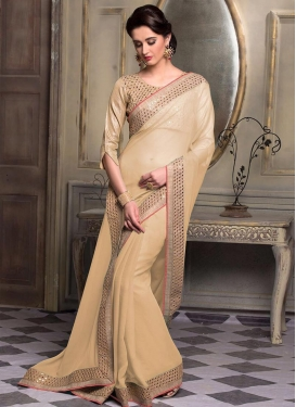 Faux Chiffon Lace Work Classic Saree