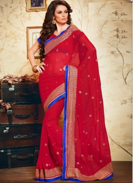 Faux Chiffon Lace Work Contemporary Style Saree