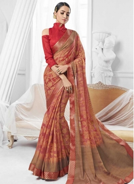 Faux Chiffon Lace Work Designer Contemporary Saree