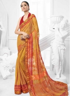 Faux Chiffon Lace Work Designer Contemporary Style Saree