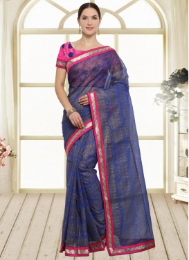 Faux Chiffon Lace Work Traditional Saree