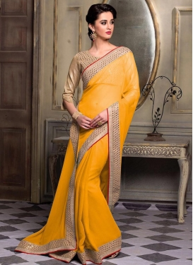 Faux Chiffon Lace Work Trendy Classic Saree For Ceremonial