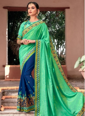 Faux Chiffon Mint Green and Navy Blue Embroidered Work Half N Half Designer Saree