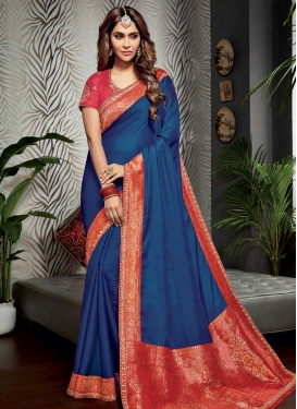 Faux Chiffon Navy Blue and Red Designer Traditional Saree For Festival